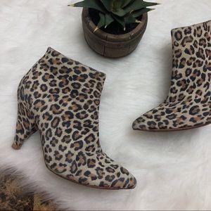 LOEFFLER RANDALL Leopard Suede Cone Heel Booties